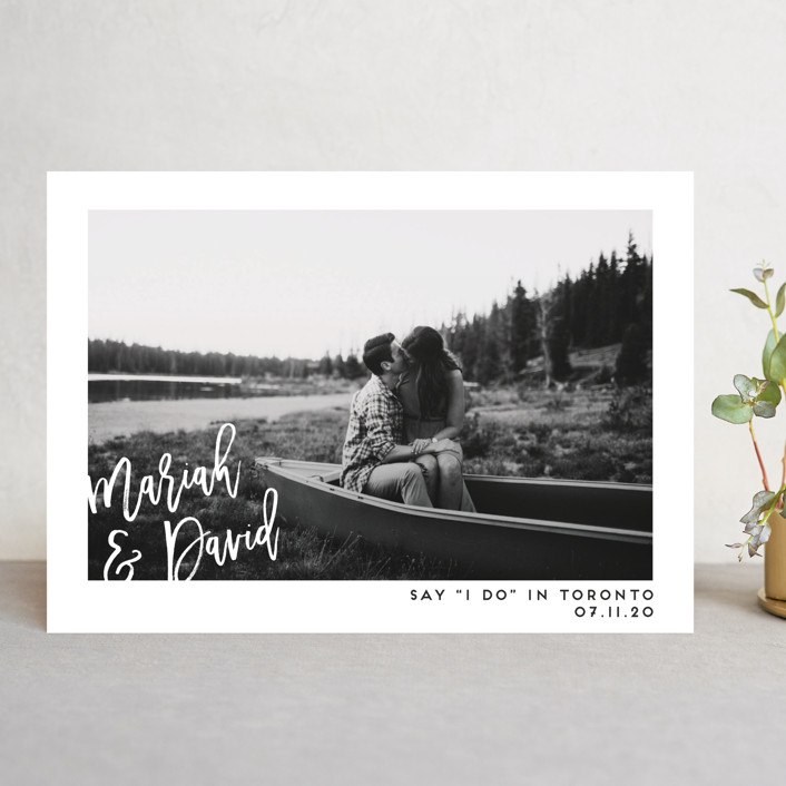 """Say I Do"" - Save The Date Cards in Blanc by Paige Carrington."