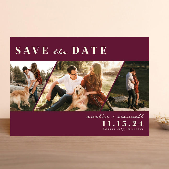 """Diamond Trio"" - Modern Save The Date Cards in Pearl by Stephanie Given."