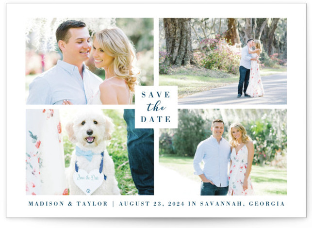 """This is a landscape simple and minimalist, blue Save the Dates by Kasia Labocki called Charmed Elegance with Standard printing on Signature in Classic Flat Card format. This photo """"save the date"""" announcement features a tone of classic beauty"""