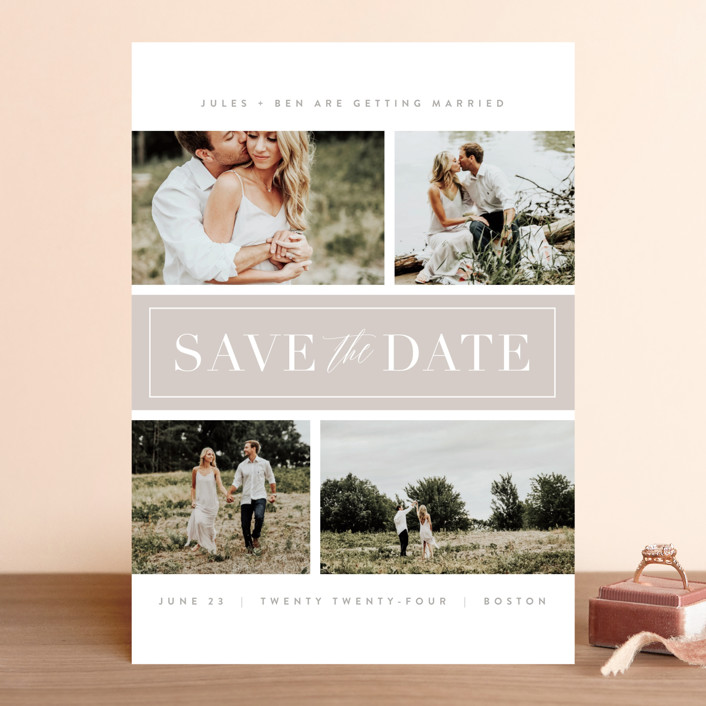 """Banner Day"" - Save The Date Cards in Fawn by Kristie Kern."