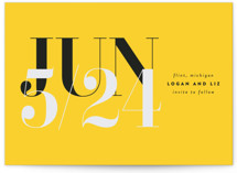This is a yellow save the date by wilnarvincent called Facile with standard printing on pearlescent in standard.