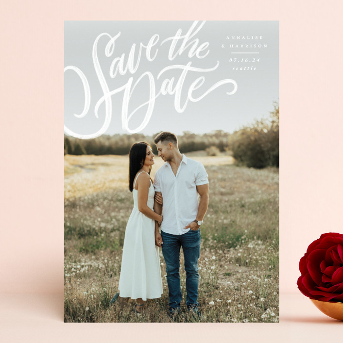 """""""Love Letters"""" - Save The Date Cards in Daisy by Wildfield Paper Co."""