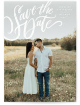 This is a white save the date by Annie Mertlich called Love Letters with standard printing on triplethick in standard.