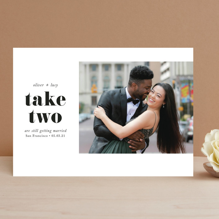 """""""Modern Simplicity"""" - Save The Date Cards in Monochrome by Hudson Meet Rose."""