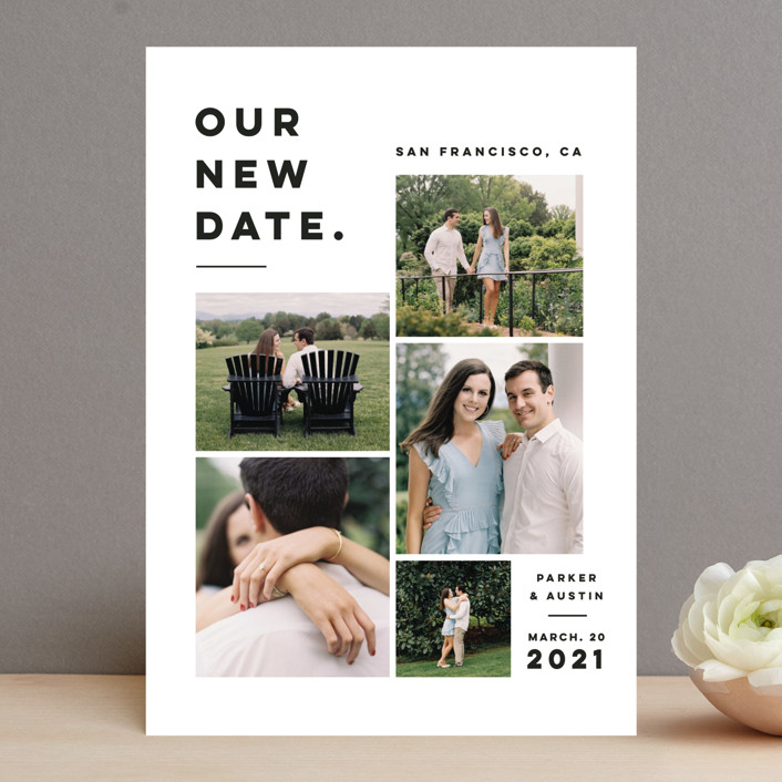 """""""Blocked Date"""" - Save The Date Cards in Fog by Pink House Press."""