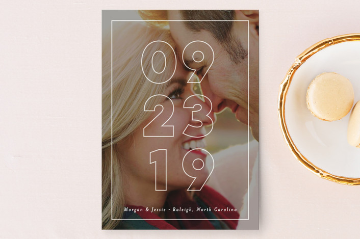 """Just Picture It"" - Save The Date Cards in White by Pink House Press."