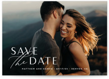 This is a white save the date by Jennifer Postorino called Eloquent with standard printing on smooth signature in standard.