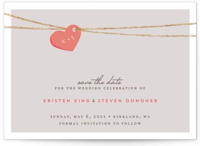 This is a landscape rustic, pink Save the Dates by Jennifer Postorino called Tangled Love with Standard printing on Signature in Classic Flat Card format. A sweet heart with you and your fiances initials on it is delicately strung up ...
