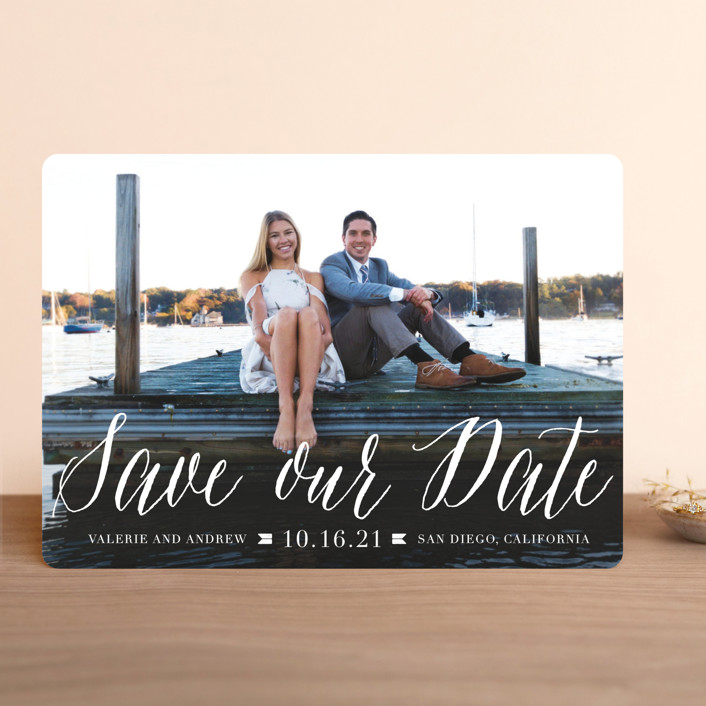 """Modern Script"" - Save The Date Cards in Cloud by Lehan Veenker."