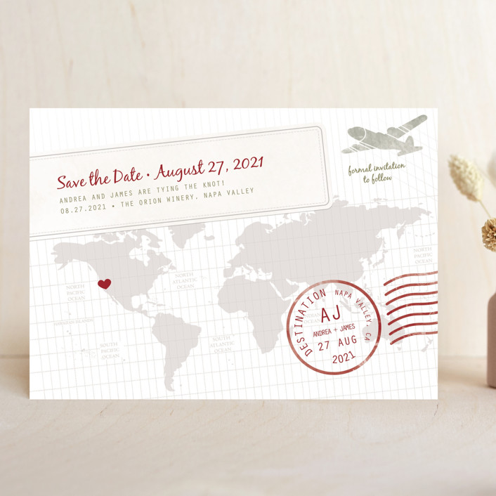 """A Faraway Destination"" - Save The Date Cards in Cranberry by bumble ink."
