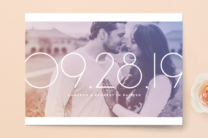 """""""Lucky Numbers"""" - Bold typographic, Modern Save The Date Cards in Lavender by Jody Wody."""