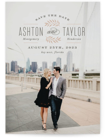 This is a portrait rustic, pink Save the Dates by Hooray Creative called Elegant Engagement with Standard printing on Smooth Signature in Classic Flat Card format. Elegant typography on a full bleed photo.