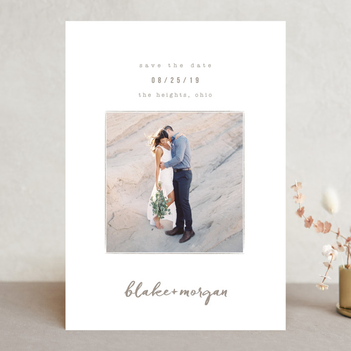 """""""Understated"""" - Save The Date Cards in Warm Gray by Robin Ott."""