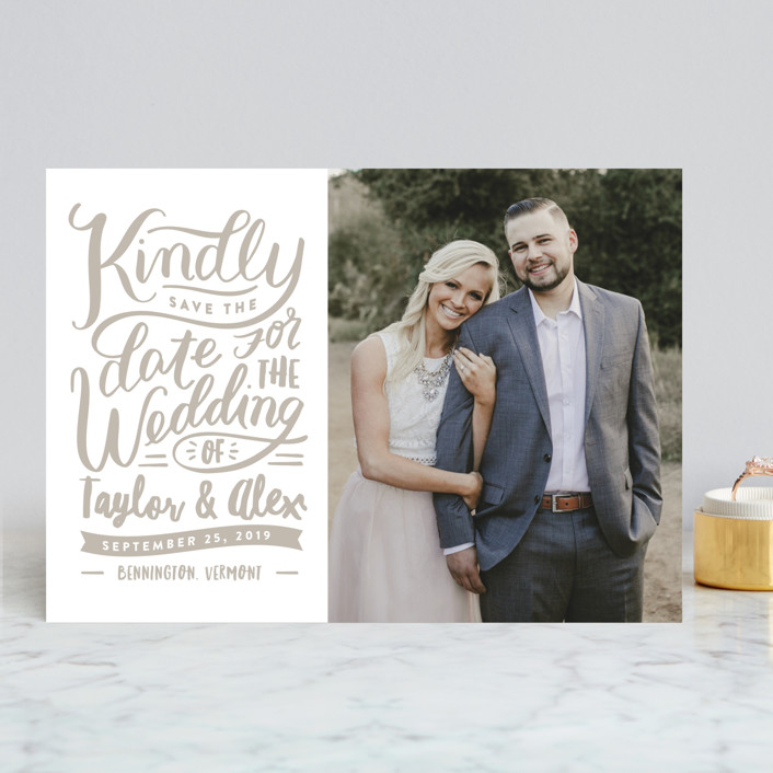 """""""Handlettered Love"""" - Rustic Save The Date Cards in Cashmere by Carrie ONeal."""
