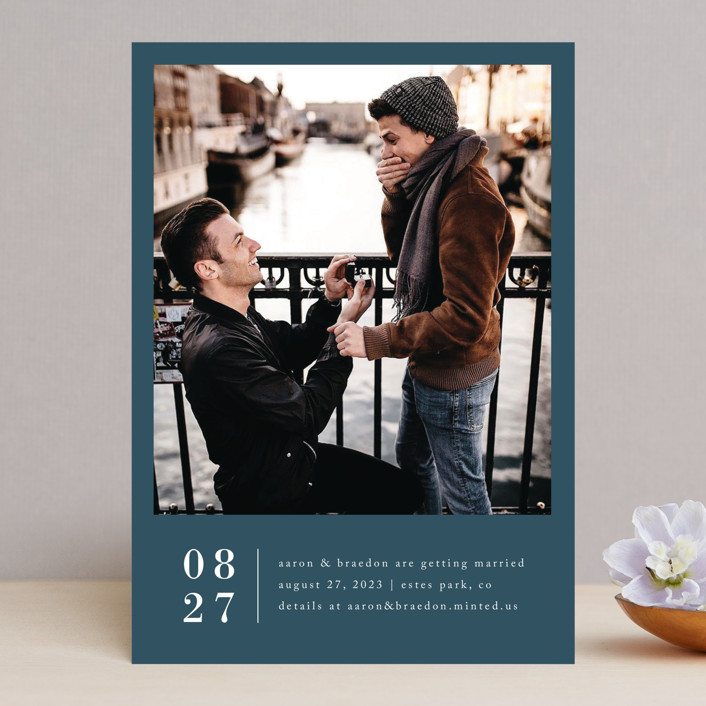 """""""Stacked Banner"""" - Save The Date Cards in Cotton by Amy Kross."""