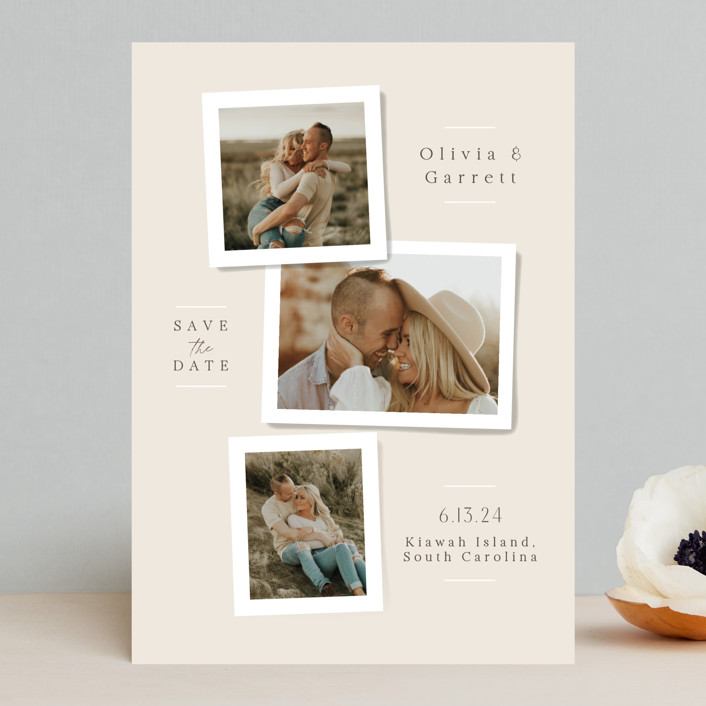 """""""Portraits"""" - Save The Date Cards in Champagne by Jennifer Wick."""