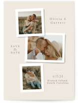 This is a beige save the date by Jennifer Wick called Portraits with standard printing on pearlescent in standard.