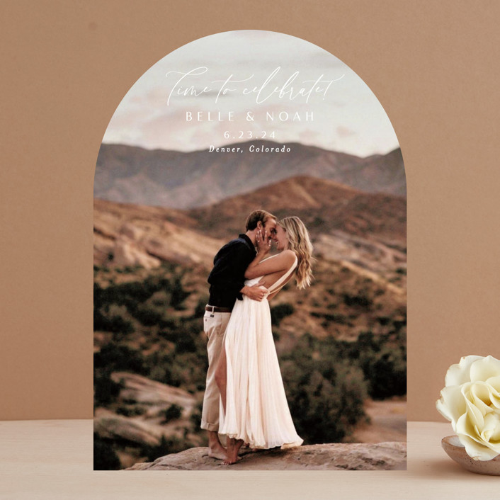 """""""Simple Celebrate"""" - Save The Date Cards in Pearl by Alethea and Ruth."""