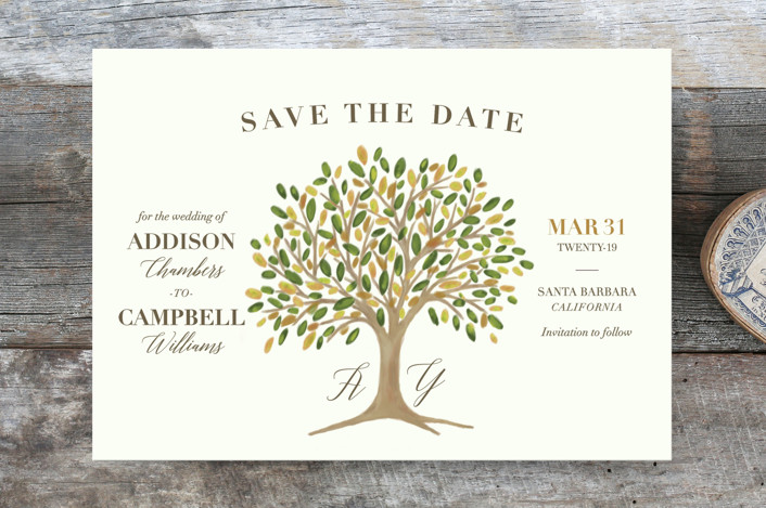 """Arbor"" - Rustic Save The Date Cards in Amber by Griffinbell Paper Co.."