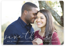 This is a white save the date by Stacey Meacham called Etched in love with standard printing on smooth signature in standard.