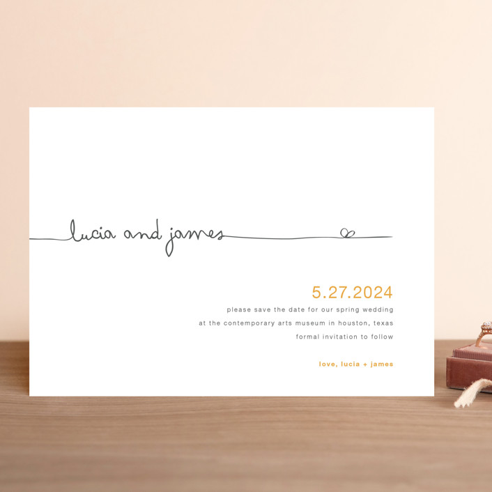 """The Happy Couple"" - Save The Date Cards in Tangerine by R studio."