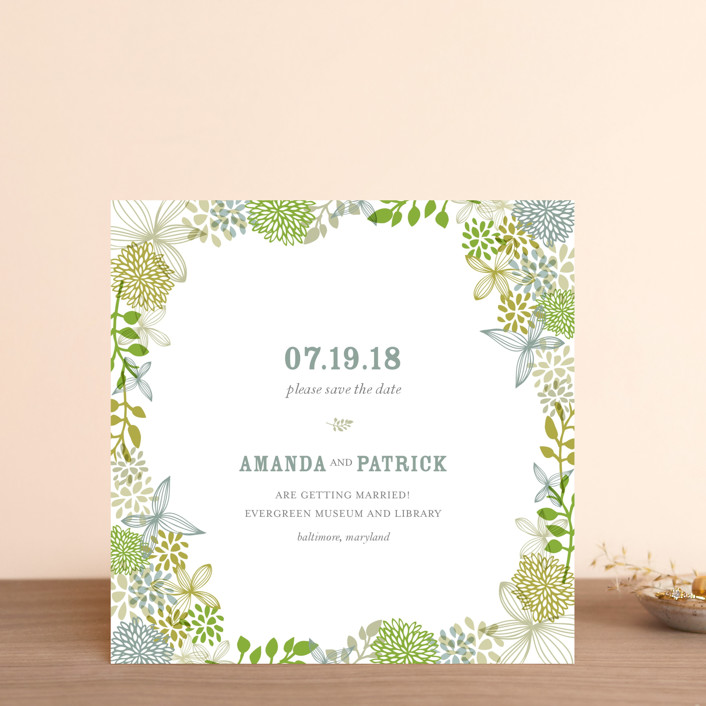 """Fling"" - Floral & Botanical Save The Date Cards in Clover by Andrea Mentzer."