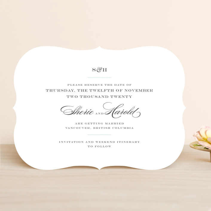 """""""Charming Go Lightly"""" - Classical, Elegant Save The Date Cards in Light Aqua by danielleb."""