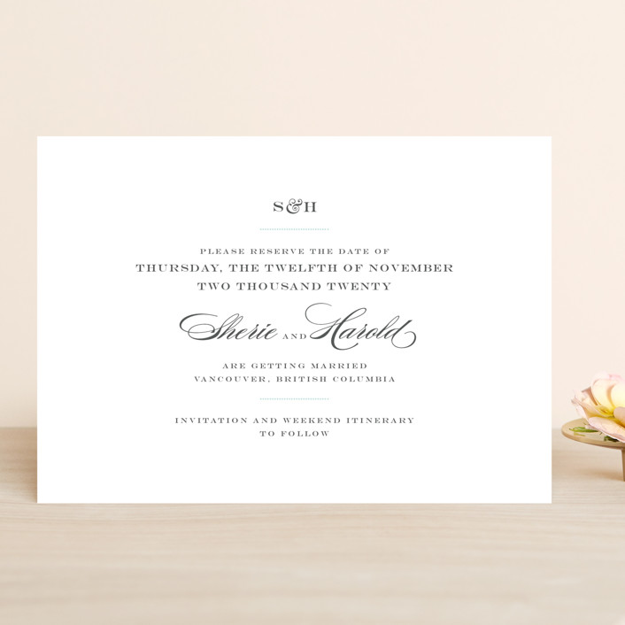 """Charming Go Lightly"" - Save The Date Cards in Light Aqua by danielleb."