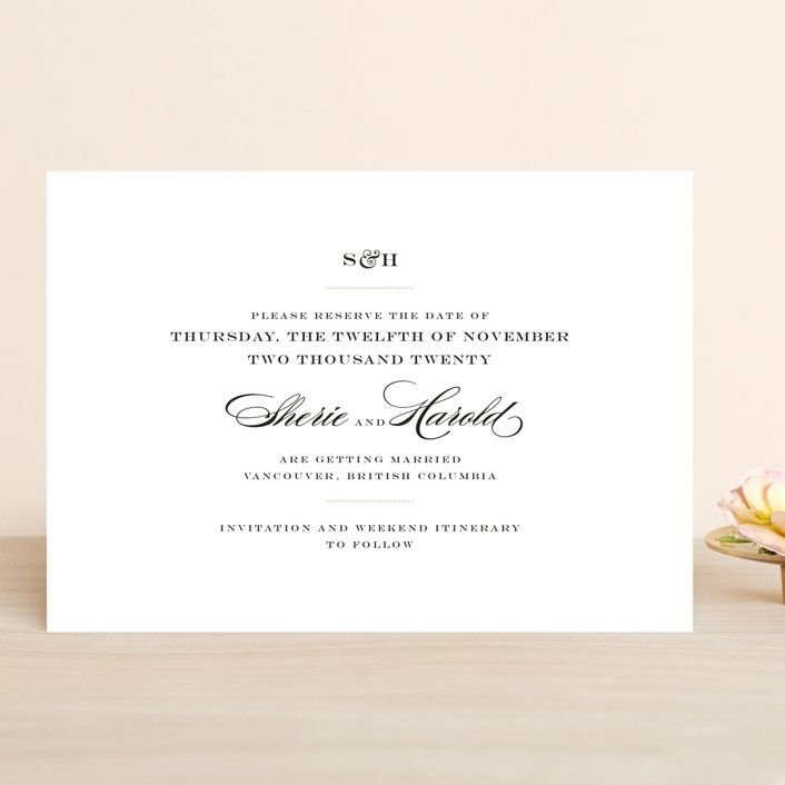 """""""Charming Go Lightly"""" - Save The Date Cards in Feather by danielleb."""