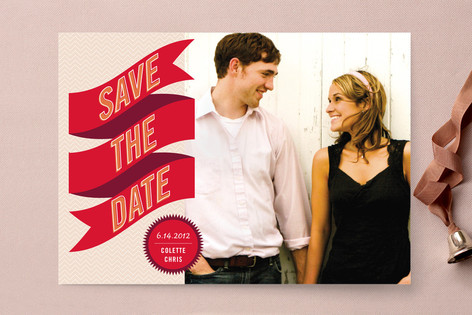 Banner + Burst Save The Date Cards