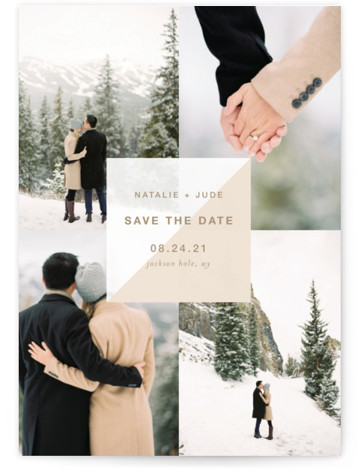 This is a classic and formal, simple and minimalist, brown Save the Dates by Robin Ott called portfolio with Standard printing on Smooth Signature in Classic Flat Card format. Minimal / modern photo layout