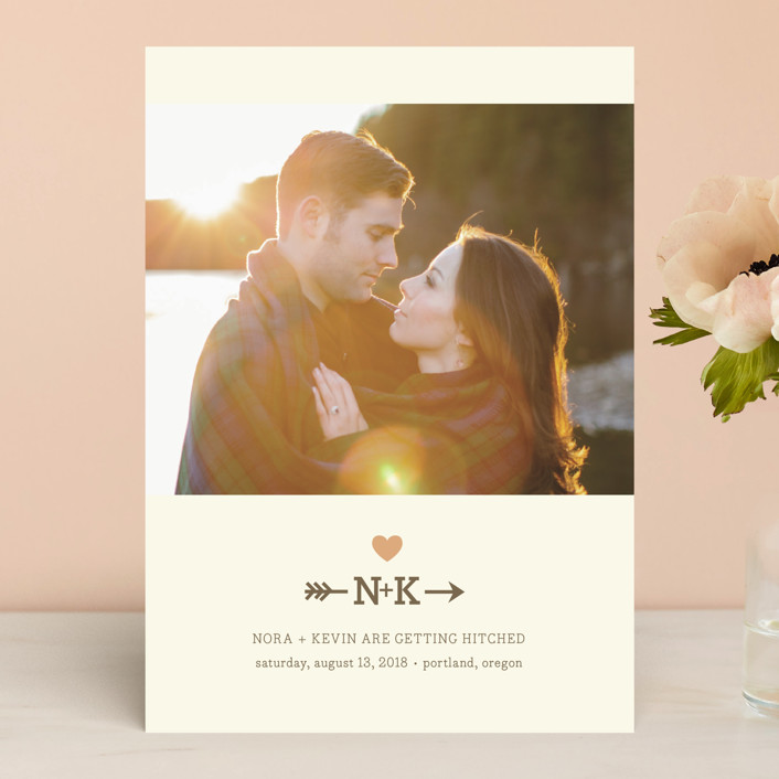 """Love Struck"" - Modern Save The Date Cards in Peach by The Social Type."