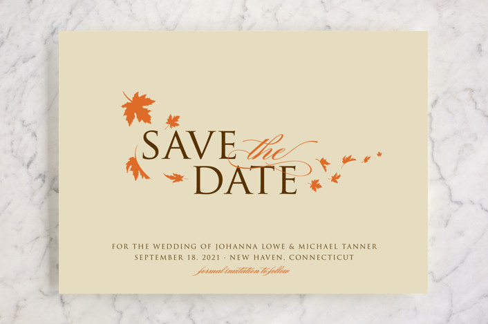 """Fall Breeze"" - Rustic Save The Date Cards in Cream by Paperview Designs."