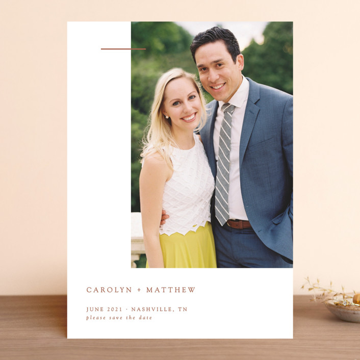 """""""Gilded Bar"""" - Save The Date Cards in Classic by Mere Paper."""