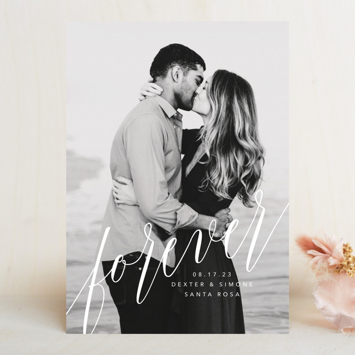 """forever with you"" - Modern Save The Date Cards in Linen by Guess What Design Studio."