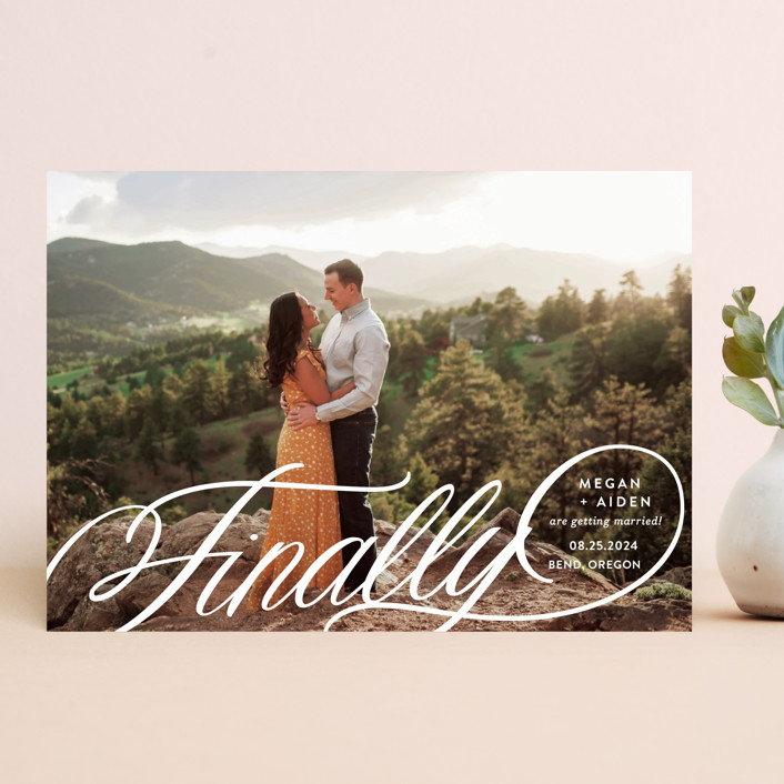 """""""Finally Getting Married"""" - Save The Date Cards in Cotton by Jill Means."""