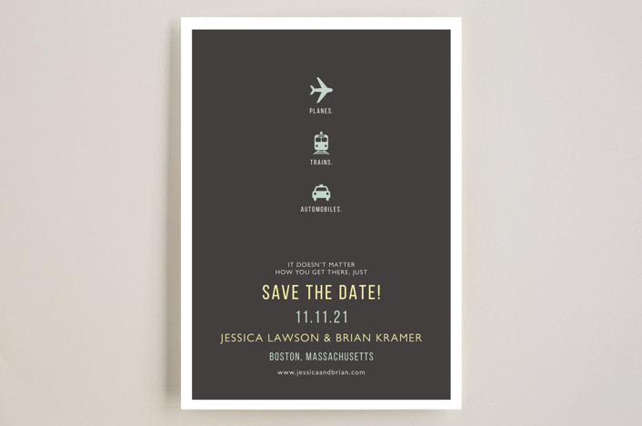 """""""Plane Trains Automobiles"""" - Whimsical & Funny, Modern Save The Date Cards in Charcoal by Fig and Cotton."""