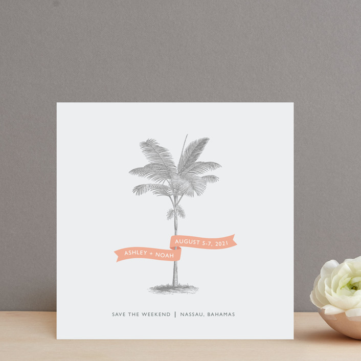 """Palm"" - Destination, Beach Save The Date Cards in Salmon by Lauren Chism."