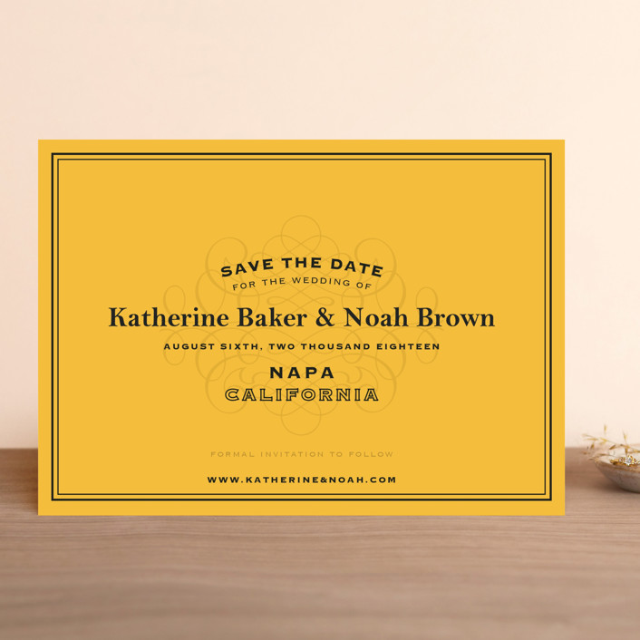 """Label"" - Winery, Destination Save The Date Cards in Goldenrod by Lauren Chism."