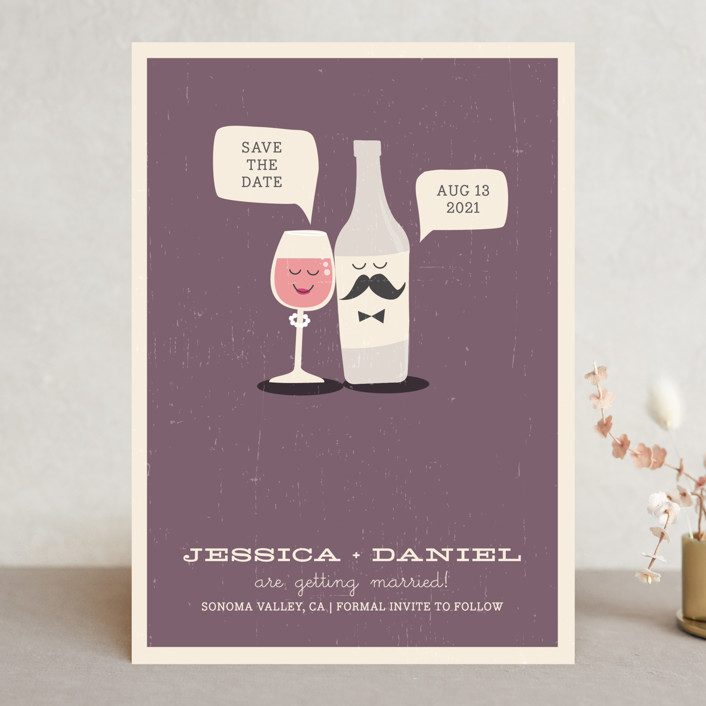 """Little Wine Charmers"" - Whimsical & Funny Save The Date Cards in Plum by Nam Bourassa."