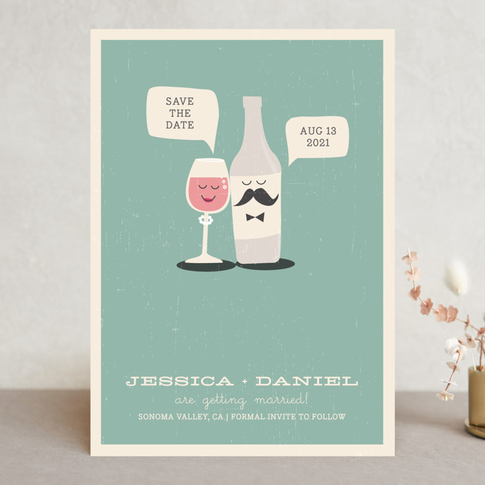 """""""Little Wine Charmers"""" - Whimsical & Funny Save The Date Cards in Plum by Coco and Ellie Design."""