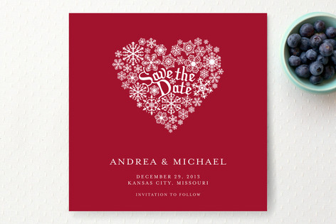 Snowy Heart Save The Date Cards
