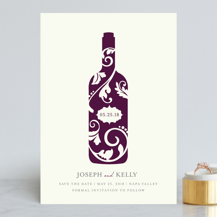 """Vineyard Silhouette"" - Save The Date Cards in Burgundy by Kristen Smith."