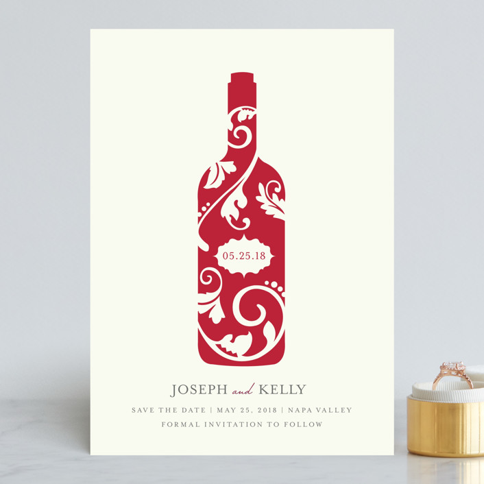 """""""Vineyard Silhouette"""" - Save The Date Cards in Burgundy by Kristen Smith."""