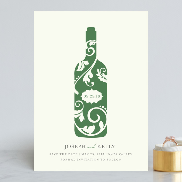 """Vineyard Silhouette"" - Save The Date Cards in Emerald by Kristen Smith."
