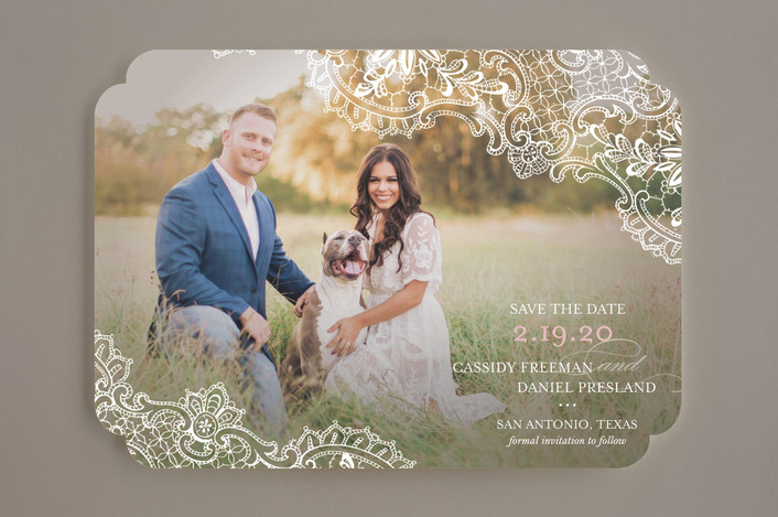 """White Lace"" - Bohemian Save The Date Cards in Blush by Lauren Chism."
