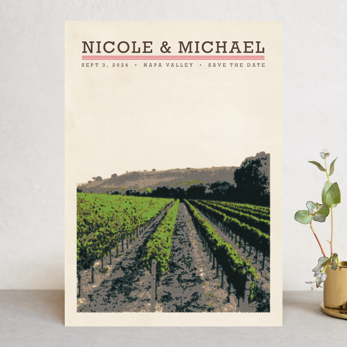 """St Helena"" - Winery, Destination Save The Date Cards in Raspberry by Alex Elko Design."