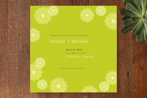 Modern Flowers Save The Date Cards