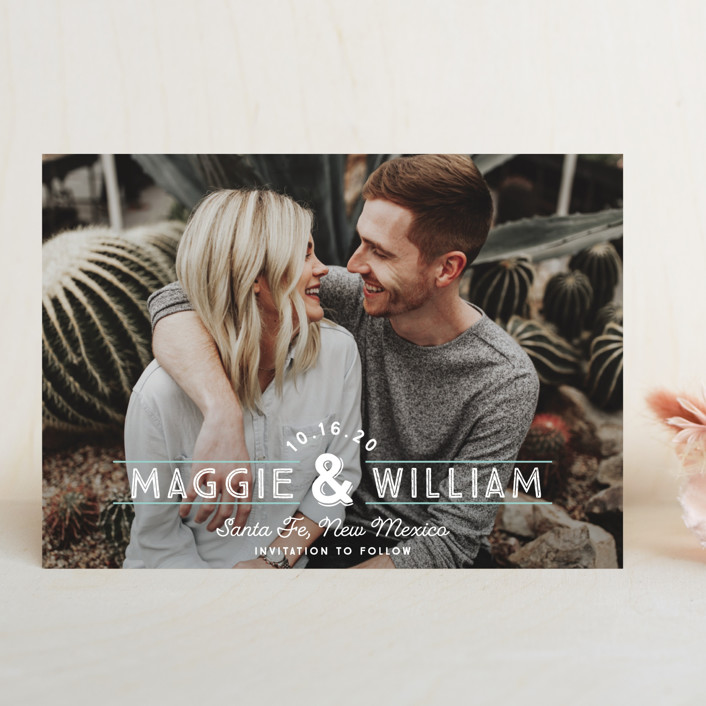 """""""Santa Fe Type"""" - Bohemian Save The Date Cards in Pearl by Paper Dahlia."""