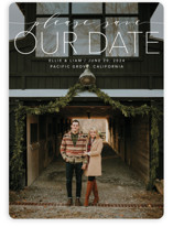 This is a white save the date by Erin Deegan called Mixed Type with standard printing on smooth signature in standard.